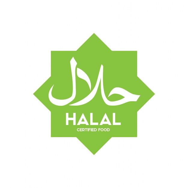 Muzułmański tradycyjny halal karmowy ikona wektor. odznaki, logo, znacznik i etykieta. nadaje się do bann