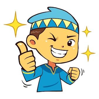 Muzułmańskie chłopiec znaków kciuk w górę stanowią.