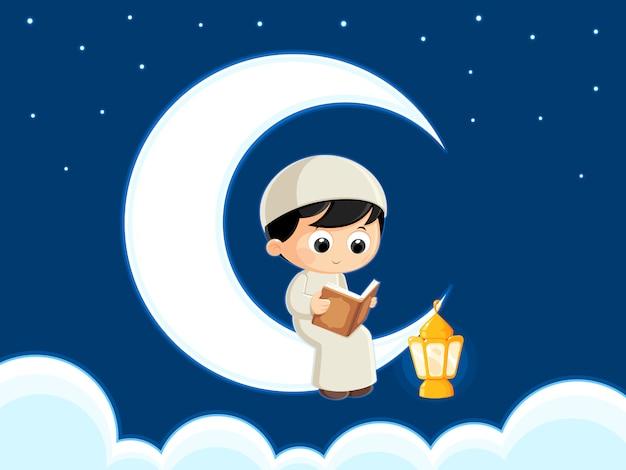 Muzułmańskie czytanie koran ramadan kartkę z życzeniami