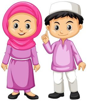 Muzułmańskie dzieci w fioletowym stroju