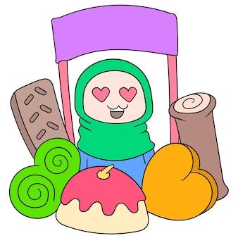 Muzułmańskie dziewczyny hidżabu są zadowolone z jedzenia iftar, ilustracji wektorowych. doodle ikona obrazu kawaii.