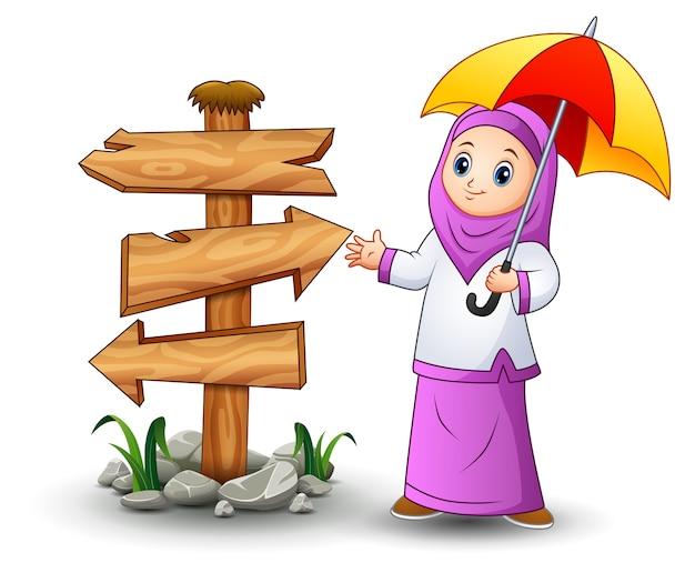 Muzułmańskie dziewczyny kreskówka trzymając parasol