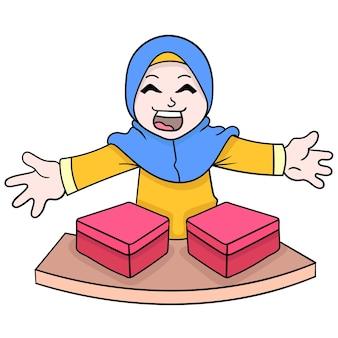 Muzułmańskie hidżab dziewczyny chętnie rozdają prezenty ludziom, ilustracji wektorowych sztuki. doodle ikona obrazu kawaii.