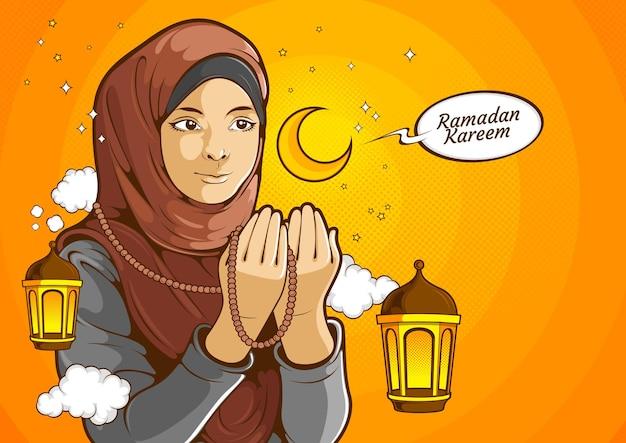 Muzułmańskie kobiety, islamska kobieta nosząca hidżab z podniesionymi rękami i modląca się do boga allaha w świętym miesiącu ramadan kareem, ilustracja komiks.