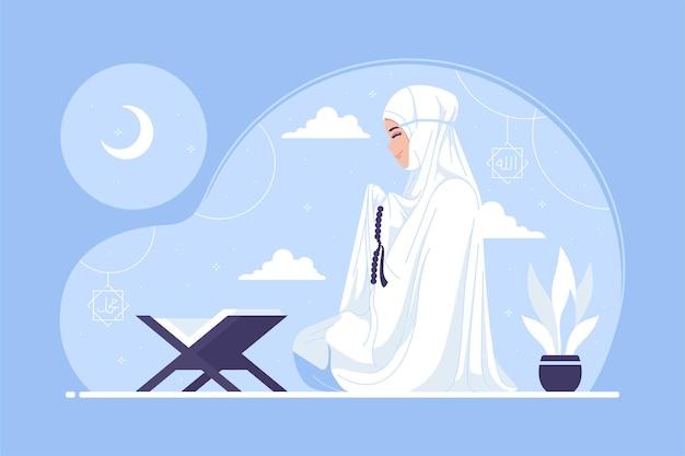 Muzułmańskie kobiety modląc się postać z kreskówki ilustracja