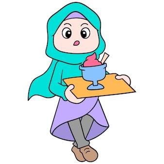 Muzułmańskie kobiety noszące piękne hidżaby chodzą z lodami za łamanie ich fast foodów, ilustracji wektorowych. doodle ikona obrazu kawaii.