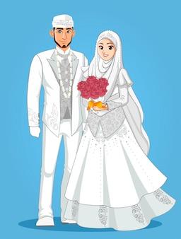 Muzułmańskie narzeczone w białych ubraniach.
