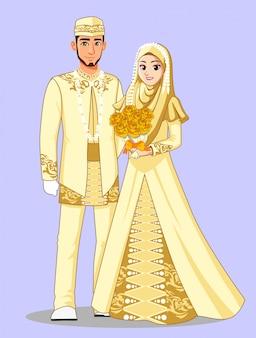 Muzułmańskie panny młode betawi w złotych ubraniach.