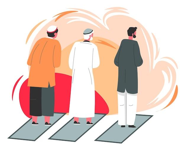 Muzułmańskie postacie męskie modlące się, stojące na dywanie, ludzie wierzący w allaha i boga. religia i kultura krajów bliskiego wschodu. arabscy mężczyźni w tradycyjnych strojach. wektor w stylu płaskiej