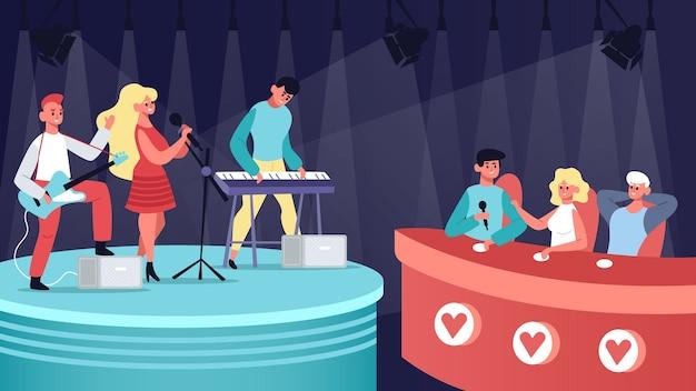 Muzycy grający na gitarze i klawiaturze na scenie