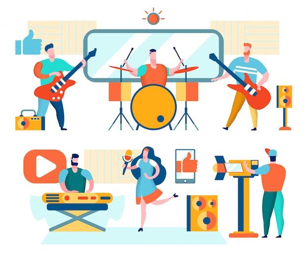 Muzycy i piosenkarze odtwarzają muzykę