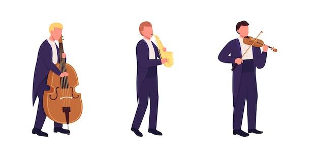 Muzycy orkiestry z instrumentami muzycznymi w płaskim kolorze bez twarzy. muzyka klasyczna na białym tle ilustracja kreskówka do projektowania grafiki internetowej i kolekcji animacji