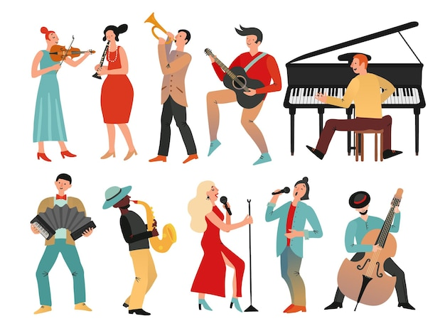 Muzycy. profesjonalna orkiestra i zespół muzyczny. izolowani ludzie z instrumentami muzycznymi. wektor męskich i żeńskich postaci muzycznych. ilustracja instrument orkiestrowy jazz, muzyk płci męskiej i żeńskiej