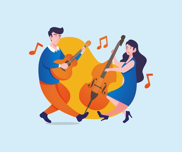 Muzycy szczęśliwi grając razem muzykę