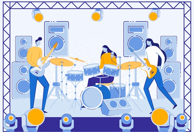 Muzycy występujący na scenie ze światłem, głośnik.