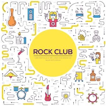 Muzycy z cienkiej linii grający i występujący na scenie podczas imprezy w klubie rockowym i barze