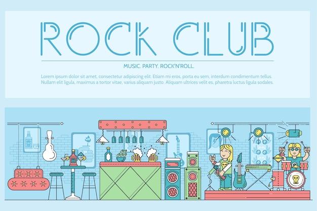 Muzycy z cienkiej linii grający i występujący na scenie podczas imprezy w koncepcji klubu rockowego i baru