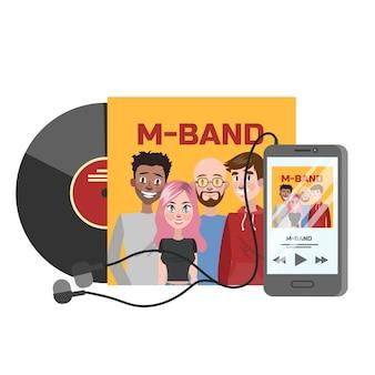 Muzyczna płyta cd z zespołem na okładce. żółte pudełko na dyski. ilustracja