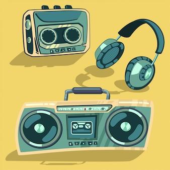 Muzyczne elementy retro z lat 80-tych. odtwarzacz, radio i magnetofon kasetowy, słuchawki wektor zestaw kreskówka na białym tle