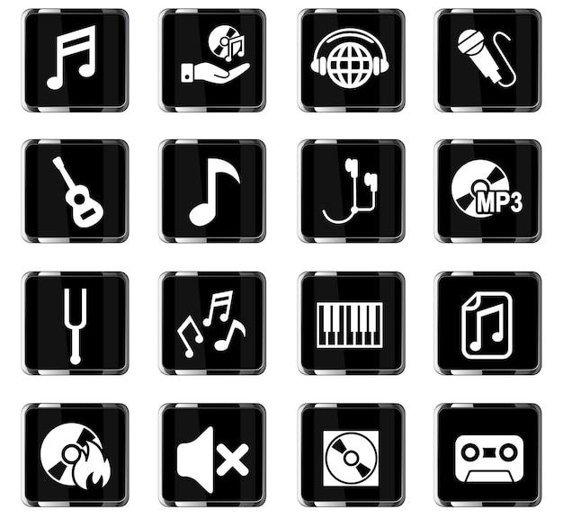 Muzyczne ikony internetowe do projektowania interfejsu użytkownika