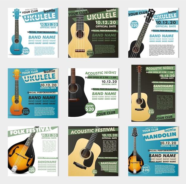 Muzyczne plakaty. plakat gitarowy na festiwal. vintage szablon retro.