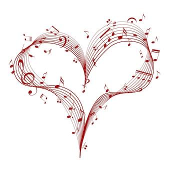 Muzyczne serce z elementem projektu klucza i nut dla romantycznej muzycznej karty walentynkowej