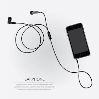Muzyczne słuchawki z telefoniczną wektorową ilustracją