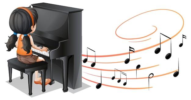 Muzyczne symbole melodii z dziewczyną grającą na pianinie na białym tle