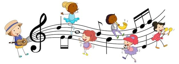 Muzyczne Symbole Melodii Z Wieloma Postaciami Z Kreskówek Dla Dzieci Doodle Darmowych Wektorów