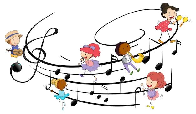 Muzyczne symbole melodii z wieloma postaciami z kreskówek dla dzieci doodle