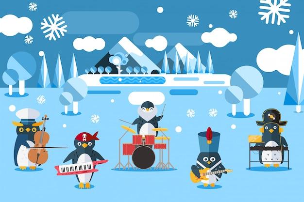 Muzyczni grupowi pingwiny w kostiumach ilustracyjnych. postać zwierząt gra na instrumentach muzycznych w zimnym, północnym, zaśnieżonym terenie.