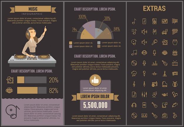 Muzyczny infographic szablon, elementy i ikony