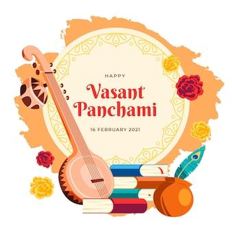 Muzyczny instrument hinduski happy vasant panchami