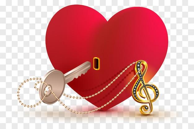 Muzyczny klucz wiolinowy, aby otworzyć kształt zamka miłości serca