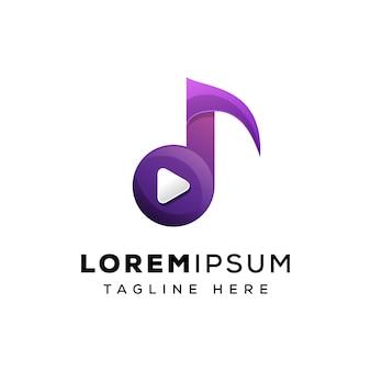 Muzyczny medialny logo szablon premium wektor