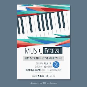 Muzyczny plakat szablon z fortepianem