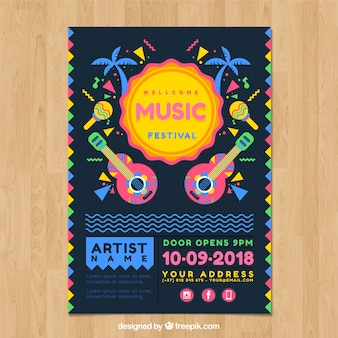 Muzyczny plakat z gitarami
