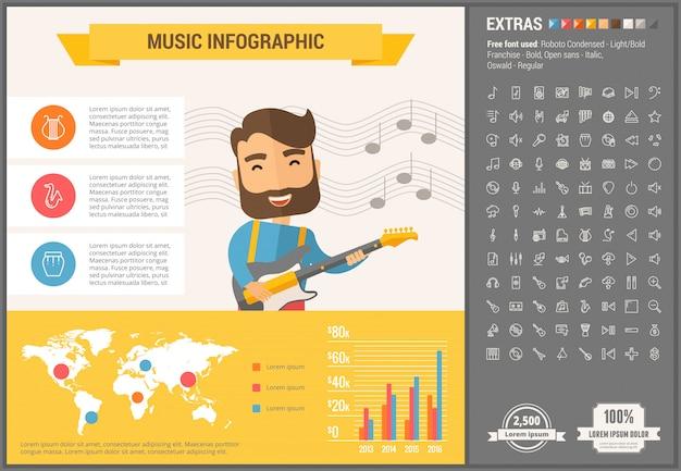 Muzyczny płaski projekt infographic szablon i ikony ustawiać