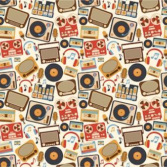 Muzyczny retro bezszwowy wzór