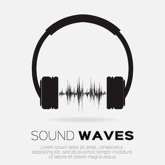 Muzyczny styl dj - słuchawki z falami dźwiękowymi. element projektu koncepcji muzyki i dźwięku.