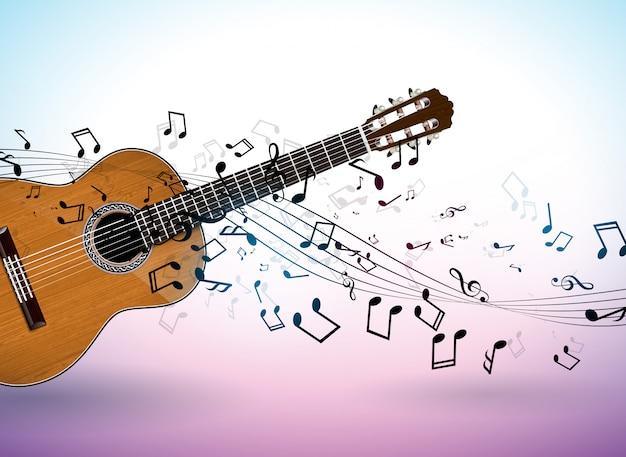 Muzyczny sztandar z gitarą akustyczną i spada notatkami na czystym tle.