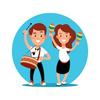 Muzyk dzieci co pefomance sztuki. postać z kreskówki chłopiec i dziewczynka z instrumentami muzycznymi