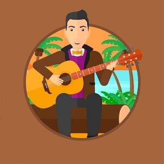 Muzyk grający na gitarze akustycznej.