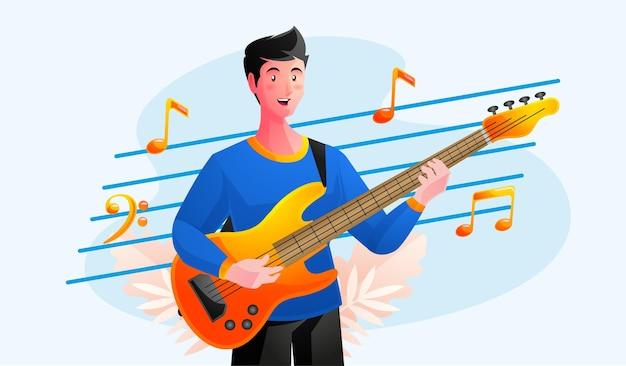 Muzyk grający na gitarze basowej z nutami