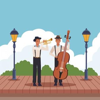 Muzyk grający na trąbce i basie