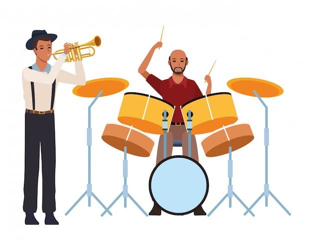 Muzyk grający na trąbce i perkusji