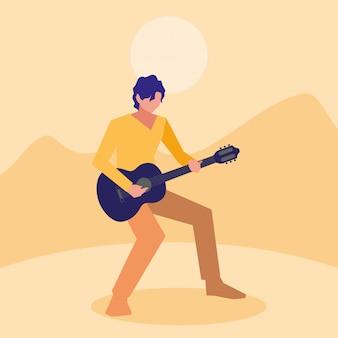 Muzyk mężczyzna gra na gitarze klasycznej