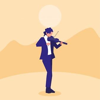 Muzyk mężczyzna skrzypce odtwarzanie muzyki