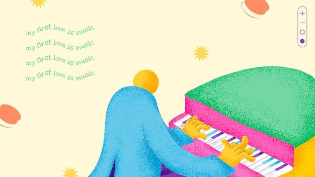 Muzyk szablon transparent wektor płaska konstrukcja z inspirującym cytatem muzycznym