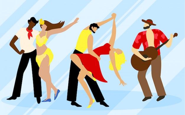Muzyk z gitarą i dwiema parami tancerzy